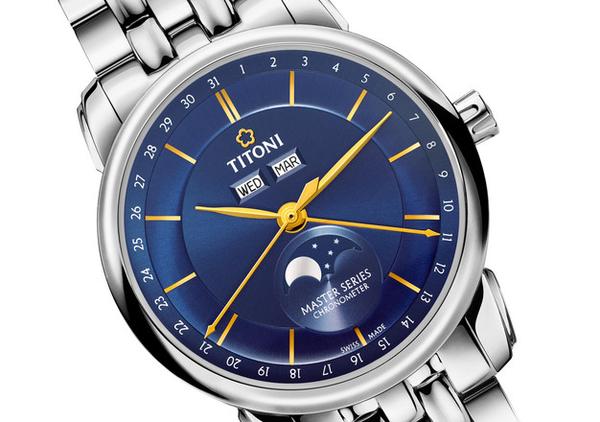 TITONI 梅花錶 大師系列 天文台 月相錶(94588S-636) 藍/41mm