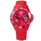 BAKLY 彩艷亮麗人生日期時尚腕錶(紅)