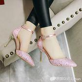 女鞋2018夏季新款韓版時尚亮片一字扣帶包頭涼鞋尖頭細跟高跟鞋子 檸檬衣捨