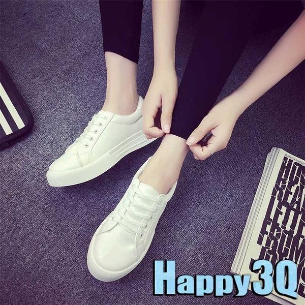 休閒簡約綁帶時尚平底鞋小白鞋-黑/白35-40【AAA0206】預購