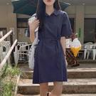 韓國夏季港風復古chic簡約學生休閒百搭小清新polo領收腰洋裝女 魔法鞋櫃