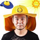 太陽能風扇帽子防曬降溫工地施工安全帽工程帽帶風扇防護防砸頭盔      蜜拉貝爾
