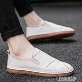 春夏季新款男鞋韓版潮流懶人豆豆鞋透氣男士休閒皮鞋百搭潮鞋-ifashion