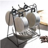 X-歐式下午茶陶瓷家用咖啡杯帶碟勺杯架禮盒套裝簡約骨瓷馬克水杯子【灰色/四杯裝/主圖】