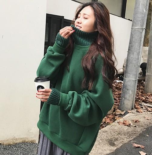 EASON SHOP(GW9014)韓版假兩件針織高領拼接刷毛加厚長袖T恤女上衣服寬鬆落肩插肩袖大學T加絨OVERSIZE
