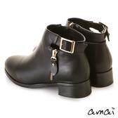 amai後鏤空皮帶低跟短靴 黑
