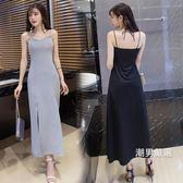 洋裝露背V領抹胸性感吊帶連身裙夏季新品女裝修身開叉長裙潮黑色洋裝S-XL