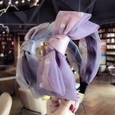 夏季蕾絲網紗釘珠雙層蝴蝶結發箍頭箍