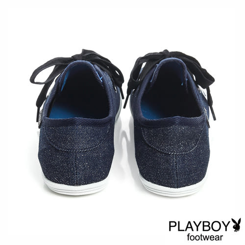 PLAYBOY自由靈魂 亮粉丹寧綁帶休閒鞋-深藍(女)