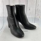 BRAND楓月 BALENCIAGA 巴黎世家 黑色 粗跟 皮革 真皮 拉鍊 圓頭 短靴 #37.5 高跟鞋