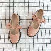 店長推薦 春夏季新款圓頭學生小皮鞋女日系軟妹街拍絨面低跟單鞋娃娃鞋粉色