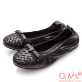 G.Ms.* 牛皮編織蝴蝶結娃娃鞋*黑色