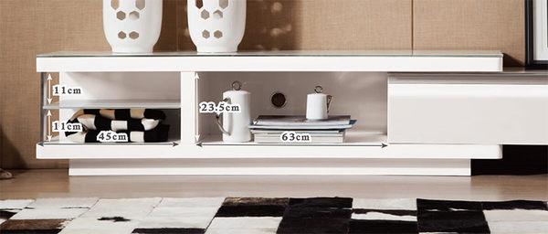 【森可家居】濱崎白玻5.8~7.9尺電視櫃 7ZX405-2 白色 伸縮 長櫃 北歐風