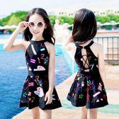 新款泳衣女孩中大童韓國連體裙式平角兒童泳衣女童學生游泳衣