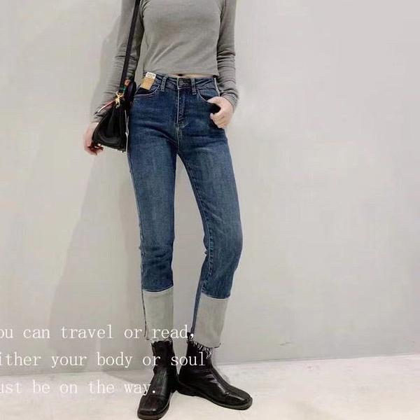 高腰彈性顯瘦前下襬刷白剪接牛仔褲九分褲【88-27-8111283-21】ibella 艾貝拉