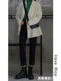 HAVERICE飯館黑色春秋款高腰直筒顯瘦錐形褲寬鬆新款九分牛仔褲女 米希美衣