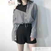 春季女裝新款寬鬆顯瘦條紋小心機露肩假兩件拼接學生長袖襯衫上衣 韓慕精品