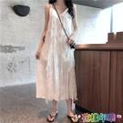 春夏裝新款韓版甜美無袖V領長裙子氣質顯瘦蕾絲吊帶連衣裙女 快速出貨