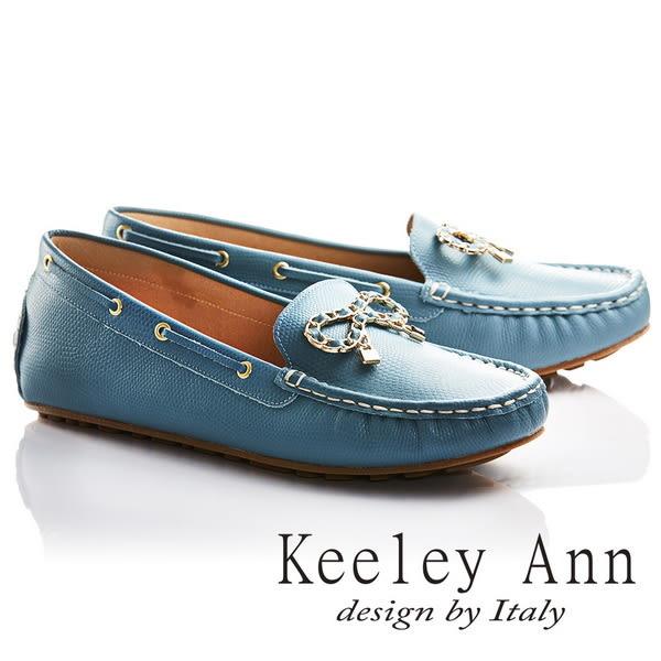 ★2017春夏★Keeley Ann甜美氣息~金屬蝴蝶結飾釦OL全真皮平底莫卡辛鞋(藍色)