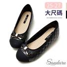 大尺碼鞋 訂製超好穿豆豆軟底蝶結金釦娃娃鞋-黑
