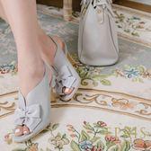 現貨 MIT小中大尺碼推薦 深V女神 露趾魚口中跟鞋 21-26.5 EPRIS艾佩絲-紫鼠灰