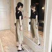 港味套裝女夏季新款韓版顯瘦百搭純色時尚上衣哈倫褲兩件套     原本良品
