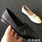 春新款软牛皮女鞋平底牛筋底尖头女单鞋 可然精品