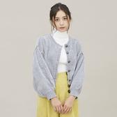 東京著衣-PrivateBeach-雪尼爾紗圓領排釦澎袖短版外套(5200008)