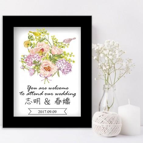 幸福婚禮小物❤浪漫花束迎賓板❤迎賓牌/禮桌桌卡/婚宴用品/客製化/會場佈置