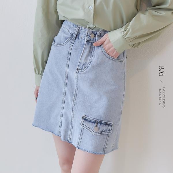 縫線口袋高腰水洗牛仔短裙M-XL號-BAi白媽媽【310800】