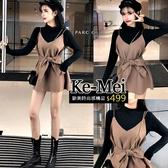 克妹Ke-Mei【ZT62422】lady溫柔小女人長袖上衣+吊帶毛尼馬甲蝴蝶結綁帶套裝洋裝