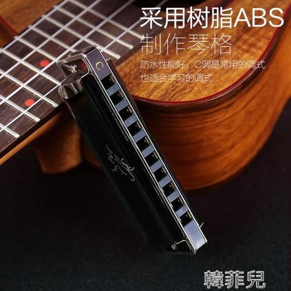 口琴 天鵝10孔布魯斯口琴男 C調兒童初學者學生藍調十孔入門小囗琴樂器 韓菲兒