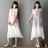 無袖洋裝大尺碼實拍復古原創大尺碼無袖背心吊染搖花漸變色小清新連身裙 降價兩天