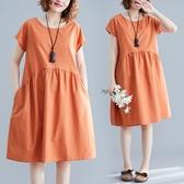 洋裝 連身裙純色拼接高腰棉麻圓領連衣裙文藝中長款寬鬆中大尺碼百搭中長裙