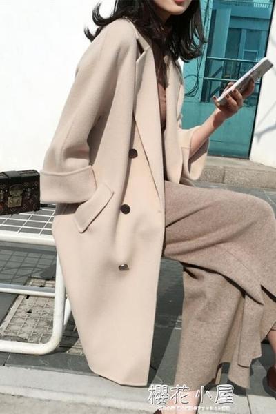 羊絨赫本風小個子chic呢子大衣中長款雙面毛呢外套女『櫻花小屋』