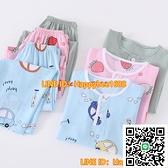 夏季兒童棉綢睡衣男童女童寶寶綿綢長袖夏天薄款空調服家居服套裝【happybee】