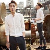 夏季立領襯衫男士五七分袖休閒白襯衣韓版修身短袖寸衣半長袖潮薄 台北日光