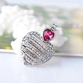 925純銀項鍊 水晶墜飾-鑲鑽心型生日情人節禮物女飾品3色73aj68【巴黎精品】