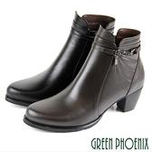 U15-2A302 女款全真皮高跟短靴 垂墜方型水鑽線條側拉鍊全真皮高跟短靴【GREEN PHOENIX】