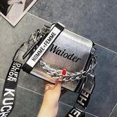 小包包女2019夏季新款潮寬帶手提單肩包韓版百搭斜挎包鏈條水桶包-ifashion