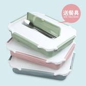 304不銹鋼保溫飯盒學生分隔帶蓋密封2層日式餐盒微波爐成人便當盒-交換禮物