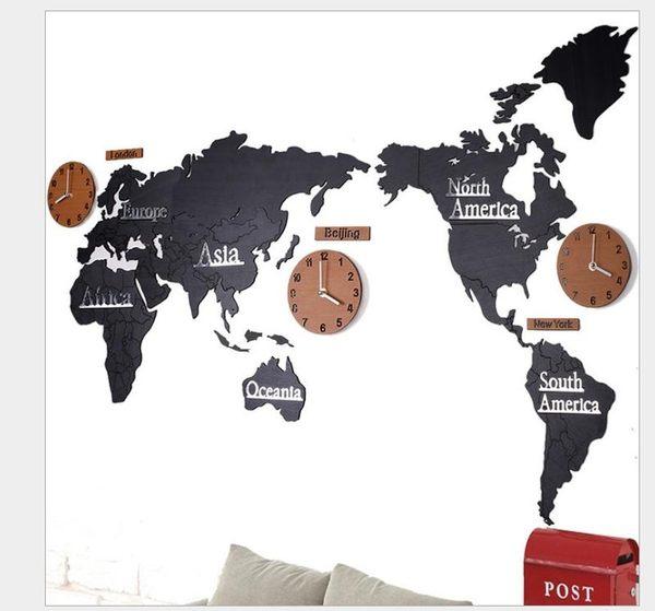 【SG347】地圖掛鐘137CM 創意3D木質世界地圖掛鐘木質創意掛鐘世界地圖大號客廳辦公室裝飾牆貼鐘
