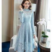美之札[98705-QF]夢幻紫羅蘭朵公主風氣質高領蕾絲中長款洋裝~婚宴/尾牙/約會