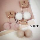 耳環 日韓系可愛毛球 亮鑽甜美氣質 垂吊式長款耳針耳環【1DDE0031】