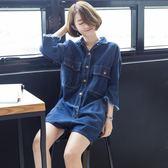 【全館】現折200春夏季七分袖連身裙牛仔短褲女裝連身裙寬鬆大碼工裝連身褲子