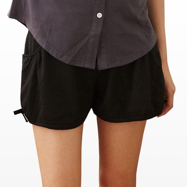 短褲--絕佳舒適雙口袋褲腳抽繩設計素面棉麻短褲(黑.灰M-2L)-R90眼圈熊中大尺碼