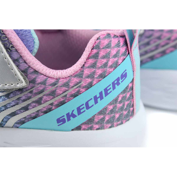 SKECHERS KIDS 休閒布鞋 運動鞋 粉藍/粉紅 魔鬼氈 童鞋 82080LSMLT no115
