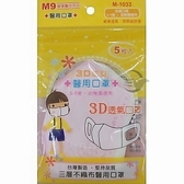 M-1033醫 用3D兒童口罩5入/包 粉紅色 粉藍色 M9 12包/盒【金玉堂文具】