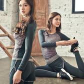 【狐狸跑跑】條紋款女運動兩件套裝 上衣假兩件長褲T225226