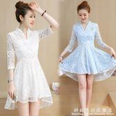 夏季洋裝女新款韓版不規則裙擺洋裝下擺燕尾中袖蕾絲裙子 igo科炫數位
